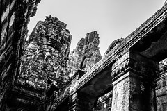 Bayon Temple (tehroester) Tags: architecture bw black white cambodia travel round world nikon d3300 perspective khmer antique masonry