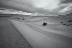 Death Valley - Mesquite Sand Dunes - Dune Beneath Angry Clouds - B and W (ImNotDedYet) Tags: sanddunes mesquitesanddunes deathvalley deathvalleynationalpark california desert clouds texture blackandwhite monochrome