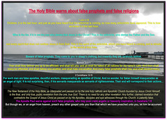 FALSE PROPHETS. The Holy Bible warns about false prophets and false religions (Truth in science) Tags: lordjesus ourlord polygamy isaiah53 prophet onetruereligion sect cult marxism princeofpeace saviour ourlordjesus christ cross truereligion trinity messiah crucifixion baptist baptism anglican christiantruth falseprophet falsereligions falsescriptures holybible christianity church catholic apostles apostolic oldtestament newtestament jesuschrist agnostic atheism atheist antichrist falsereligion falseprophets christian