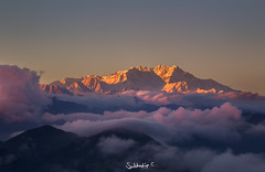 Ekpyrosis (Subhadip C, AFIAP) Tags: kanchenjunga kangchenjunga sikkim west bengal singalila peak himalayas mountain sunset cloouds india subhadip indianlandscape light snowcapped range dramatic
