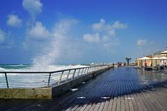 Waves splashing over the railings, Tel Aviv Old Port, Israel (Andrey Sulitskiy) Tags: israel telaviv