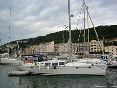 Dragonsinger at the Dock (David J. Greer) Tags: bonifacio corsica france harbour harbor dock marina sailboat boat dinghy jeanneau mast fenders