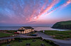Looks promising (Peter Leigh50) Tags: sunrise sky skyscape clouds cloud seascape sea seaside building car road cliff cumbria fujifilm fuji xt2