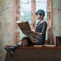 Alicia's reading (sebastienloppin) Tags: portrait bestof girl read newspaper book reading urbex urbanexploration lightroom canon 6dmarkii 6dii 6dmark2 canoneos6dmarkii indoor photoshoot shooting cute pretty young blue bluehair hair seat abandoned abandonedplace old style beauty beautiful beauté like aimer godox tamron sp70200f28divcusd 70200 ad360 strobist strobism flash sekonic fav