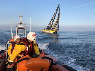 Porthcawl's Atlantic 85 lifeboat on exercise off Nash Point as Volvo Ocean Race yachts pass on the penultimate leg of the round the world race from Cardiff to Gothenburg.