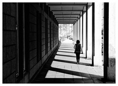 Light and shadow of law (Guido Klumpe) Tags: kontrast contrast gegenlicht shadow schatten silhouette law court leonegraph streetphotographer streetphotography candid unposed street germany deutschland city stadt monochrome bw blanco negro bn sw schwarz weis panasonicgx80 mft hannover architecture building perspective