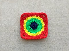 The same crochet square with a crochet border of slip stitches through the back loop only (crochetbug13) Tags: crochetcircles crochetbug crochet crocheted crocheting crochetremnants grannysquare crochetsquare