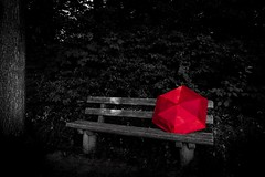 My Red Umbrella - In Dark Wood (wowafo) Tags: wald bank roter schirm red umbrella sony alpha 6000 colorkey bench seat