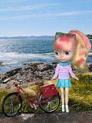 "SUMMER!! Best time for a warm breezy bike ride along the Pacific shore. Spright popped on her favourite Shibajuku Girl pleather skirt and preppy pink striped sweater and jumped onto her new bike. Background shot and bike complements of Holly C. • <a style=""font-size:0.8em;"" href=""http://www.flickr.com/photos/87230391@N03/42941066472/"" target=""_blank"">View on Flickr</a>"