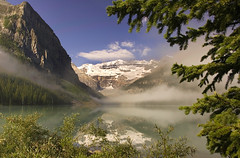 Disappearing Mist (Glenbourne At Home) Tags: mist canada landscapes alberta banff lakelouise peopleschoice lakescapes naturesfinest blueribbonwinner supershot flickrsbest specland fivestarsgallery abigfave anawesomeshot colorphotoaward impressedbeauty superaplus aplusphoto superbmasterpiece goldenphotographer diamondclassphotographer 100com500views25favs theperfectphotographer