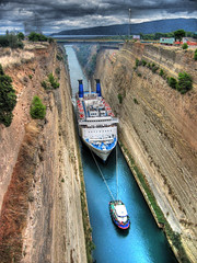 Corinthos channel (coolmonfrere) Tags: canal ship ixus explore greece 400 narrow abigfave corynthos stuckmenageriegroup6 impressedbeauty wowiekazowie
