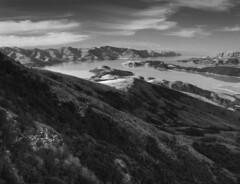 Lyttelton (katepedley) Tags: new newzealand bw composite volcano harbour zealand southisland lyttelton photomatix tonemapped tonemapping canterburynz