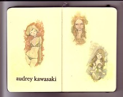 ...audrey (the3robbers) Tags: girls art moleskine sketchbook audrey transfer kawasaki solvent the3robbers moleskine2