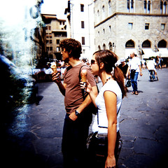 An icecream in Florence (ale2000) Tags: street light summer two people italy color colour ice mediumformat square florence holga xpro couple cross crossprocess cream tourists lightleak icecream photowalk historical firenze piazza process unposed leak turisti piazzadellasignoria signoria turistica utatathursdaywalk18 utata:project=ourplaces