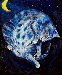 """The Sleeping Cat"" - cat painting by Jane Diamond (Jane (on break)) Tags: blue moon art love smile abbey ink cat watercolor painting stars cozy feline jane sleep contemporary tabby  kitty sleepingcat catnap marker etsy bluecat efa happycat catnapping tabbycat catland catart felineart catpainting arcylics dreamingcat smilingkitty catartist katlynn smilingcat cozycat janediamond abbeydiamond relaxedcat artmewvo artmewvodesigns paintingjanediamond etsyforanimals thesleepingcat janediamonddesigns cutecatart odetoabbey abigaildiamond incatlandwithjane cutecatpaintings fortheloveofabbey"
