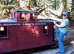 Redwood Valley Liner (trixiebedlam) Tags: california berkeley choochoo tildenpark conductor collegefriends allaboard uberalles miniaturetrains saraliner