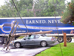 Wirelessness (CountryDreaming) Tags: ohio truck power accident telephone cable semi powerlines wires damage electricity van wreck telephonepoles telephonepole leaning downedpowerlines