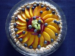 Fruit torte (Martin LaBar (going on hiatus)) Tags: food fruit pie dessert peach plum fresh blueberry peaches ericaceae kiwi plums blueberries torte rosaceae a1f1