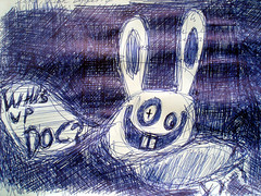 Drink beer and you will draw like us! (Janis Zakis) Tags: rabbit beer drunk pen hare drink drawing tm toms draw doc janis wazzup whatsupdoc janinens