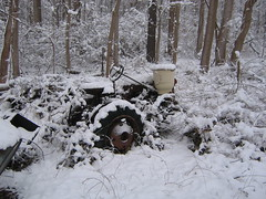 abandoned tractor (MasterGeorge) Tags: winter snow tractor abandoned machine wreck