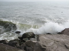 Pacific Ocean crashing into the jetty at Ocean Shores, WA.