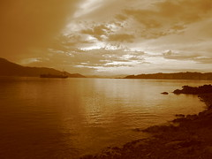 Beach in Ogaki (jasonkrw) Tags: sea beach japan sepia island ship ogaki setonaikai nearmyhouse etajima
