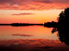 Ever Still (waldguy) Tags: sunset orange cloud lake canada reflection water topv111 canon mirror evening still topv333 quiet dusk peaceful saskatchewan interestingness132 i500