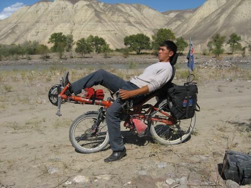 A Kyrgyz bloke trying the recumbent - Kazarman, Kyrgyzstan