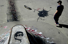 Hastings Park Skateboard Bowl (paul clarke photos) Tags: stencils canada vancouver graffiti stencil mural paint bc faces skateboarding murals skatepark skate hastings eastvan skatebowl