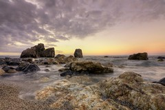 Dusk | Sicily, IT (fabioscrima) Tags: sunset sunrise sea seascape rock rocks winter scenic tranquillity serenity serene golden atmospheric seaside sand waves christmas