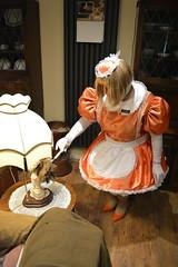 Orange maid uniform 29 (sissybarbie1066) Tags: sissymaid sissy maid uniform orange shot red taffeta dusting