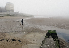 Man with dog on misty morning, Margate, Kent (Tony Withers photography) Tags: margate kent mist misty man dog beach harbour
