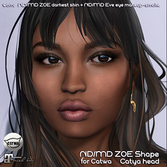 ND/MD Zoe shape Catwa Catya (Alea Lamont) Tags: ndmd zoe female skins ethnic skin black women shape catwa head applier catya shapes barberyumyum hair hairbase