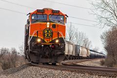 The BNSF Cross (Wheelnrail) Tags: bnsf burlington northern santa fe h1 c449w 15q ns norfolk southern sandusky district gregory ohio oh columbus train trains ge locomotive freight rails solo paint scheme