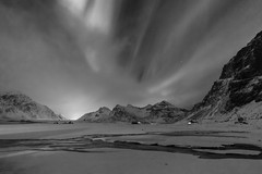 Skagsanden in B&W (Joost10000) Tags: sky aurora borealis auroraborealis northern lights northernlights norway nordland lofoten islands beach skagsanden lapland winter norge noorwegen norwegen night mysterious magnetic landscape landschaft stars clouds outdoors natur nature mountain mountains sea ocean atlantic canon canon5d eos snow ice