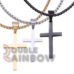 Men Stainless steel Plain Gold Silver Black Cross Pendant Necklace Chain Link#30 (laplace777) Tags: black cross pendant plain silver stainless steel