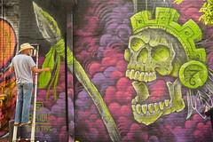 Not afraid to finish (radargeek) Tags: 2017 september plazadistrict plazafest plazawalls oklahomacity okc painting artist warrior spear ladder aztec skull bradycreative