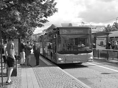 Bus 52 in Kungsportsplatsen in Gothenburg, June 15, 2018 (biketommy999) Tags: göteborg sverige sweden biketommy biketommy999 2018 svartvitt blackandwhite bus buss västtrafik hållplats