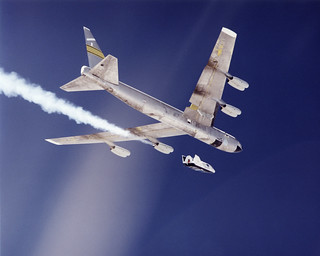 The second free-flight test of an evolving series of X-38 prototypes took place July 10, 2001 when the X-38 was released from NASA's B-52 mothership over the Edwards Air Force Base range in California's Mojave Desert. Original from NASA. Digitally