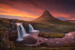 Pointy... (Radisa Zivkovic) Tags: iceland landscape travel scenery waterfall mountain sunset kirkjufell nature famous attractive destination top photography stream river cloud creek meadow spring june orange pink yellow peak rock summit tranquil