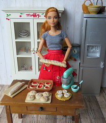 At the bakery (Foxy Belle) Tags: food clay baked goods handmade ooak water color air dry crayola chalk pastel eye shadow 16 scale playscale dollhouse doll barbie bakery kitchen rustic shabby wooden furniture diorama bake cook work titian made move curvy girl power fashionistas