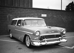 Gardena Elks Car Show (Ilford Delta 100) (JCD Images) Tags: elks lodge 1919 carshow gardena california usa march 2018 cadillac chevrolet ford madeinusa cars autos automobile classiccars musclecars hotrods streetrods street chrome rims custompaint custom kustom photography voigtlander bessar3m rangefinder cosina nokton 40mm f14 singlecoated ilford delta100 film 35mm 135 fromex prolab scanned 1955 nomad