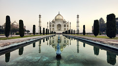 India: Taj Mahal I. (icarium.imagery) Tags: india travel canoneos5dsr tajmahal agra canonef1635mmf4l bluehour dawn sunrise wondersoftheworld reflecting pool reflection weltwunder architecture mausoleum