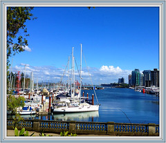 Blue Harbour (FernShade) Tags: vancouver coalharbour stanleyparkseawall ocean sea harbour scene scenic bluewater yachts harboryachts boats seascape sky city waterfront