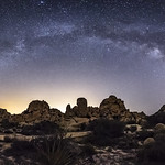 Milky Way Arch Panorama Over Alien Desert Landscape thumbnail