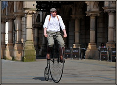 Penny-farthing (* RICHARD M (Over 7 MILLION VIEWS)) Tags: pennyfarthing highwheeler highwheel bicycle bicyclist cyclist serendipity southport sefton merseyside street candid portraits portraiture streetportraits streetportraiture candidportraits candidportraiture braces clothcap cycling victorian victoriana plustwos breeches tweeds tweedy boots brownboots leatherboots brownleatherboots
