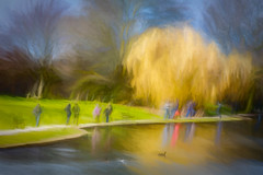The sun shone for a moment while people were taking their afternoon constitutional on Easter Saturday! (RCARCARCA) Tags: grass willow photoartistry people reflections gold canon trees blue verulamium stalbans 70200l lake sky verulamiumpark 5diii green park yellow ducks birds