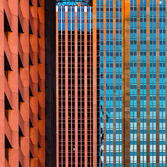 Minneapolis Geometry at Sunset (David M Strom -- Mostly Off and Very Busy) Tags: lines wellsfargo skyscraper panasonicg9 minneapolis reflections architecture davidstrom windows olympus40150 abstract