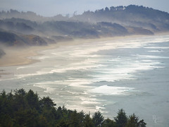Oregon Coast Morning Mist (RobertCross1 (off and on)) Tags: 75300mmf4867mzuiko beverlybeach em5 newport omd or olympus oregon pacificocean pacificnorthwest beach clouds coast forest hills landscape mist ocean sand sea seascape surf telephoto trees water waves