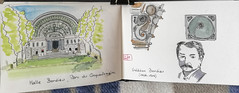 Halle Bordiau, Parc du Cinquantenaire (chando*) Tags: aquarelle croquis moleskine sketch urbansketching watercolor etterbeek bruxelles belgique